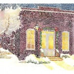 Snowing on City Hall Watercolor painting