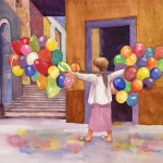The Balloon Seller Watercolor painting