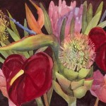 Exotic Flowers Watercolor Painting