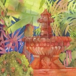 Fountain in San Miquel Watercolor Painting