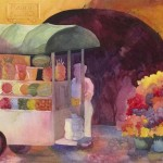 San Miguel Fruit Stand Watercolor Painting