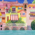Lake Como Watercolor Painting