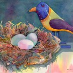Nesting Watercolor Painting
