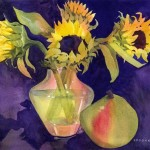 Sunflowers and Pear Watercolor Painting