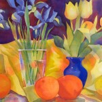 Tulips and Iris Watercolor Painting