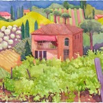 Tuscan Farm Watercolor Painting